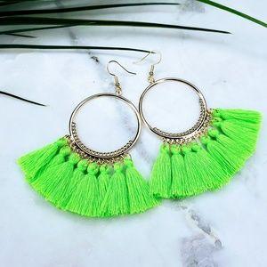 5 for $25 Gold Hoop Green Tassel Fringe Earrings